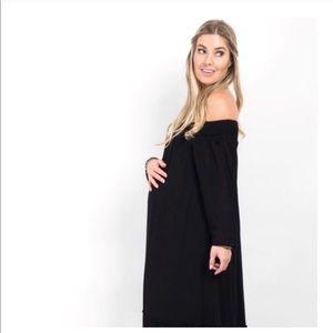PinkBlush Black Off Shoulder Maternity Maxi Dress